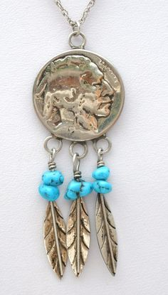 """Sterling Silver Buffalo Nickel Pendant Necklace Turquoise & Feathers Vintage 19""""  This is a handmade sterling silver buffalo nickel pendant on a 19"""" chain.  The pendant has turquoise nugget gemstones with feathers and measures 1.25"""" by .88"""".  This piece has a total weight of 8.5 grams, hallmarked 925 on clasp and is in excellent condition, with no damage.Jewelry & Watches, Ethnic, Regional & Tribal, Southwestern"""