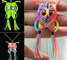 Macrame Owls -Key ring fobs in colours suitable for recipient?