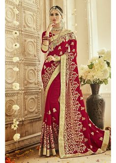 Embroidered Georgette Saree in Maroon Designer Bridal Lehenga, Bridal Lehenga Choli, Sabyasachi Sarees, Party Wear Dresses, Event Dresses, Wedding Dresses, Dress Indian Style, Indian Dresses, Beautiful Saree