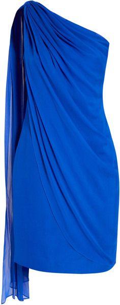 DVF One Shoulder Drape Chiffon Dress   azures