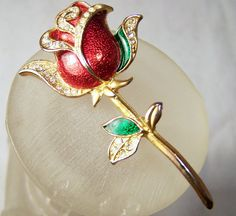 Vintage Enamel Red Rose Rhinestone Pin Gold by GretelsTreasures