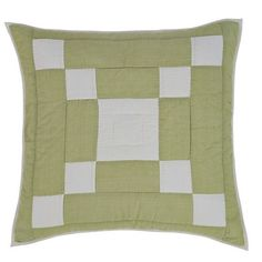 This sham is made from 100% #cotton fabrics featuring a lime green background with #creme blocks that are similar to the Irish Chain design on the quilt.  https://www.uptowncasual.com/products/tierney-quilted-euro-sham-26x26 #uptownquiltedbedding