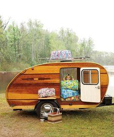 beautiful wood teardrop trailer