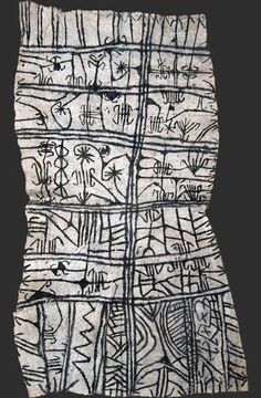 Africa | Mbuti pygmy loincloth textile, bark cloth painting, Ituri rain forest, Congo