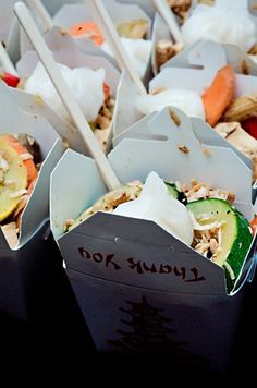 Really love this idea. Chinese food takeout containers for guests at the end of the reception. Could have different varieties of finger foods for easy eating on the drive home or walk up to their hotel room.
