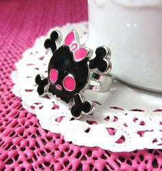 Black with Pink Cute Girly Skull Ring