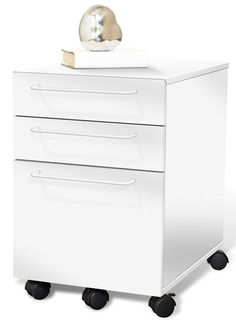 Modern Mobile File Cabinet in Espresso or White (Ships Assembled!)