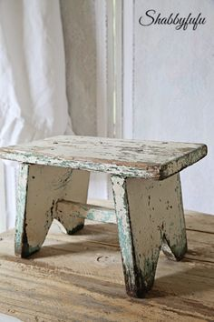 SOLD BEST Vintage Chippy White and Aqua Paint Milking Stool-