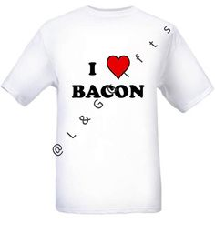 Short sleeve Unisex T shirt with I Bacon text and heart image. Available in black and white, v neck and crew neck.