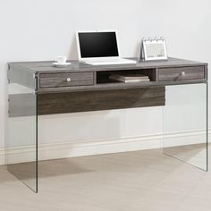 Contemporary Modern Style Glass Home Office Weathered Grey Computer/ Writing Desk with Drawers