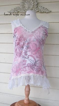 """French Sugar Parisian """"Pink Fleur""""  Up-cycled Tank Top- Altered Couture - Size Large"""
