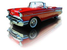 1957 Red Chevrolet Bel Air Convertible 283 V8
