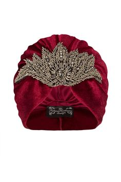 Red Velvet Turban with Gunmetal Bead Applique por TheFHBoutique