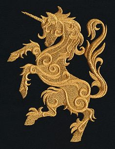 Gilded Heraldry - Unicorn | Urban Threads: Unique and Awesome Embroidery Designs
