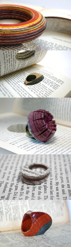 London-based artist Jeremy May gives discarded books a new lease on life as wearable sculptures.