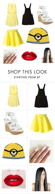 """""""Minion By My Friend Abby"""" by juneisbest ❤ liked on Polyvore featuring WithChic, Monki, GUESS, Jeremy Scott, George, Lime Crime and Abbymyfriendstle"""