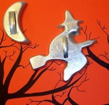 Vintage Halloween witch on broom& Cresceny Moon cookie cutters. I got a moon, I want a witch too