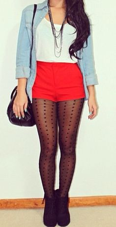 maybe with my red shorts instead of these high waisted shorts? For spring or fall!