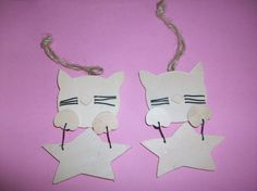 Wood Cat & Star Ornaments for Crafting by MICSJWL on Etsy, $5.00