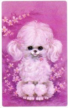 Vintage Poodle Card #pink #color #colours