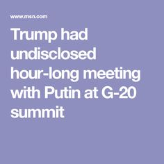 Trump had undisclosed hour-long meeting with Putin at G-20 summit