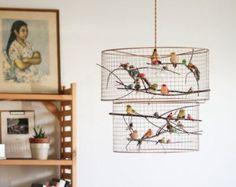 Cage à oiseaux cuivre pendentif lustre lumière