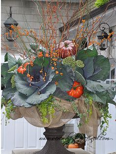 For the steps at the WC Cabbages, ivy, burlap, bittersweet, change pumpkins to white or green and white