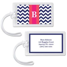 Chevron Rugby Stripe Monogram Luggage Tags/Calling Cards (Navy-Pink) Free luggage or calling card