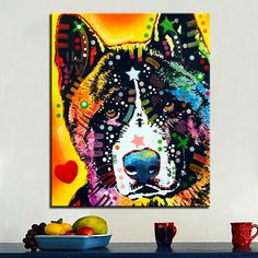 Akita Dog Lover Gift for Christmas Birthday Presents Retro Pop Dog Canvas Print Art Posters for Wall Decor http://www.wish.com/c/57dedd624ed96b27ccad44ec