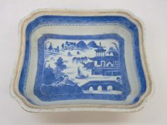 Antique Chinese Canton Blue & White Serving Dish. Hand painted