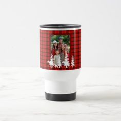 Lumberjack red plaid pattern with family photo travel mug - rustic gifts ideas customize personalize