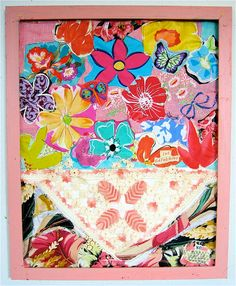 FLOWERS  Vintage Pillowcase Folk Art Quilt Collage by mybonny, $65.00