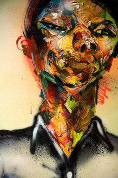 """Wayne"" by David Choe, 2010. Mixed media, acrylic, latex, oil paint, oil stick…"