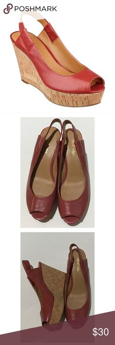 "Nine West ""cantaloupe"" peep toe wedge size 7 Nearly New! Leather upper. Please reference stock photo for color. It's almost a dusty rose. Approx. heel is 4"" with a 1"" platform (heel closer to 3"") Nine West Shoes Wedges"