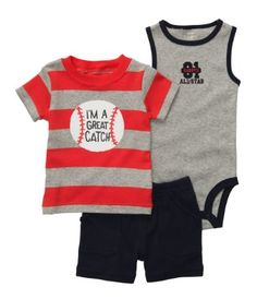 Carter's offers cute & comfortable clothing with soft, durable fabrics! $22.  Get them now at http://ilovebabyclothes.com/?product=carters-great-catch-baseball-set