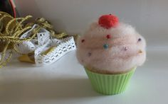 Felted pincushion needle felted wool cupcake with cherry on top by FeltSoapGood, $15.00