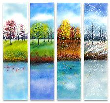 """""""Four Seasons Glass Wall Art"""" art glass wall art created by artist Anne Nye. The four seasons are depicted in dramatic lakefront landscapes in kiln-formed glass. Glass Wall Art, Sea Glass Art, Stained Glass Art, Fused Glass, Window Glass, Blown Glass, Tree Wall Art, Tree Art, Four Seasons Art"""