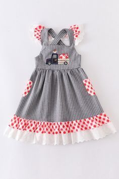 Animal applique stripe lace dress97% cotton 3% spandex Red Checkered Dress, Striped Dress, Sewing Kids Clothes, Sewing For Kids, Gray Dress, Lace Dress, Kids Coats Girls, Dresses For Sale, Summer Dresses