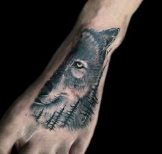 Mens Foot Forest Wolf Tattoos