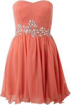 Ax Paris Ax Paris Sleeveless Jewel Chiffon Dress in Pink (coral) Chiffon Dress, Dress Skirt, Homecoming Dresses, Prom Dress, Strapless Dress, Coral Dress, Playing Dress Up, Pretty Dresses, Dress To Impress
