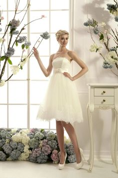 Lace wedding dress tea length bridal dress short by LureCouture