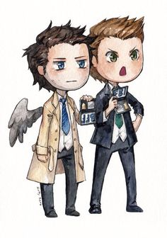 Dean and Cas I love how Cas' badge says 'BFF'!!!