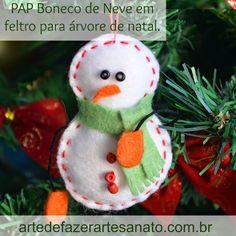 Boneco de neve para enfeitar a árvore de natal | DIY ~ Arte De Fazer | Decoração e Artesanato