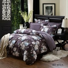 Yous Home Textiles!Pure Cotton Brushed 4pcs bedding sets queen king size duvet covers quilts comforter pillows bed Linen sets  $126.00 - 128.00