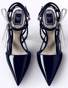#Dior- strappy, pointed, slick black