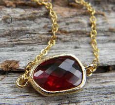 Ruby Red Necklace Faceted Glass Framed in Gold