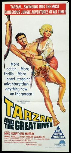 Tarzan and the Great River Daybill Movie poster Robert Day Mike Henry Jan Murray Rafer Johnson Diana Millay Original Movie Posters, Movie Poster Art, Vintage Movies, Vintage Posters, Tarzan Johnny Weissmuller, Robert Day, Mike Henry, Tarzan Movie, Tarzan Of The Apes