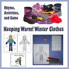 Build winter clothing vocabulary with playful riddles, rhyme and movement, writing, and a coloring game. Vocabulary Activities, Winter Activities, Preschool Activities, Preschool Winter, Kindergarten Bulletin Boards, Kindergarten Crafts, Morning Activities, Snow Theme, Places
