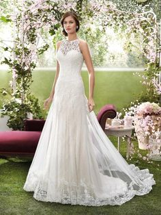 Halter Wedding Dresses 2016 Designer Wedding Dresses By Novia D'Art High Neck Appliqued Tulle And Lace Bridal Gowns With Lace Back And Chapel Train A Line Wedding Gowns From Nicedressonline, $202.05| Dhgate.Com