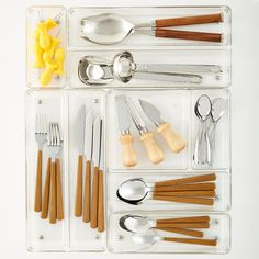 Drawer organizers can be used to hold a variety of small items, adding structure and order to almost any drawer.